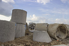 Concrete pipe for sewage Royalty Free Stock Image