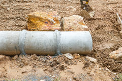 Concrete pipe under construction Royalty Free Stock Photos
