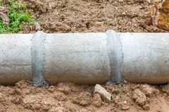 Concrete pipe under construction Stock Photography