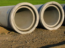 Concrete pipes. For the development of a building area Stock Image