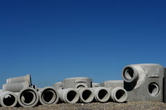 Concrete pipes. On a building site stock image
