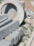 Concrete pipes and blocks Royalty Free Stock Photos