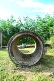 Concrete pipes. Cement pipes, old which is not recycled Royalty Free Stock Photos