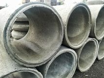 Concrete pipes. For construction. Industry, industrial, tubes, drain royalty free stock photography
