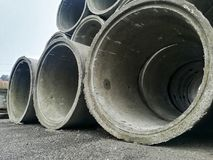 Concrete pipes. For construction. Industry, industrial, tubes, drain stock photo