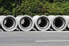 Concrete pipes. At construction site Stock Photo