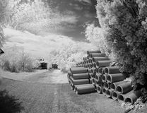 Concrete pipes in infrared light Royalty Free Stock Image
