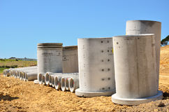 Concrete pipes. Large concrete pipes for sewage and drainage Royalty Free Stock Photo