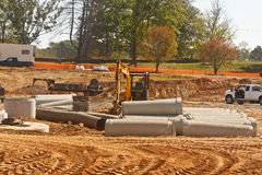 Concrete Pipes at New Construction Site Stock Photo