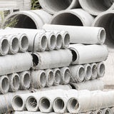 Concrete pipes prefabricated warehouse Royalty Free Stock Photo