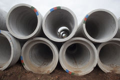 Concrete Pipes Stacked Close Royalty Free Stock Photo