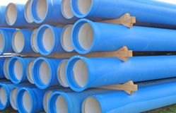 Concrete pipes for transporting  sewerage. Concrete pipes for transporting water and sewerage Royalty Free Stock Image