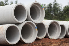 Concrete Pipes Water Drainage  Royalty Free Stock Photo