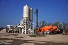 Concrete plant. Concrete Mixer Trucks Royalty Free Stock Photography