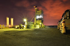 Asphalt factory by night Stock Photography