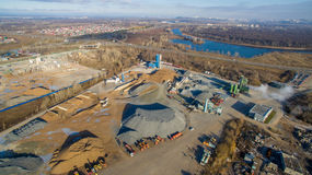 Concrete Plant Near A Big Road. Aerial. Royalty Free Stock Photo