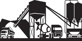 Concrete plant with trucks Stock Image