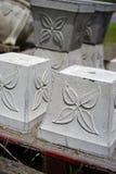 Concrete planters with leaf design Stock Photo