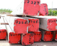 Concrete pole pile on construction site Stock Photo