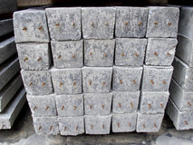 Concrete pole pile on ground Stock Photo