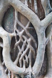 Concrete pole with sculpture decoration. Of tree roots Stock Image