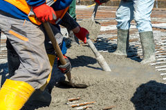 Concrete pouring on the construction site Royalty Free Stock Image