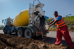 Concrete Pouring Operator Close-Up Royalty Free Stock Photography