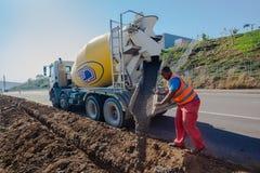 Concrete Pouring Operator Roads Stock Image