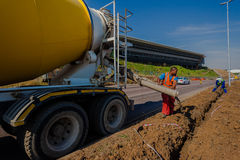 Concrete Pouring Truck Operater Roads Royalty Free Stock Photo