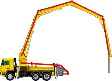 Concrete pump. On the truck chassis Stock Photos