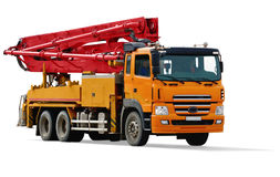 Concrete pump car Stock Photos