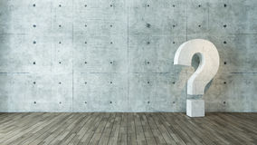 Concrete questions marks in the empty room Stock Photos