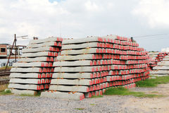 Concrete railway sleepers piled Royalty Free Stock Photography