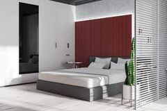 Concrete and red bedroom corner royalty free illustration
