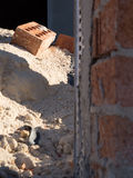Concrete render in a house under construction Stock Images