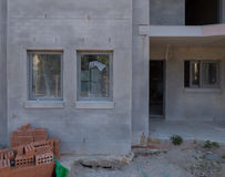 Concrete render in a house under construction Stock Image