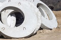 Concrete rings for construction Stock Photography