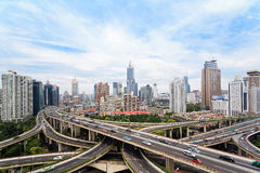 Concrete road curve of viaduct in shanghai Stock Photography
