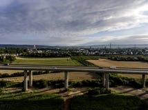 Concrete road - street highway bridges Nature Landscape village and contruction site Stock Photo