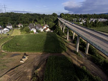 Concrete road - street highway bridges Nature Landscape village and contruction site Royalty Free Stock Photography