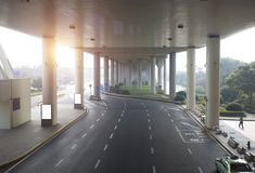 Concrete road under bridge. Near to Pudong airport Royalty Free Stock Photos