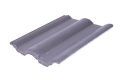 Concrete roof tile (gray color) on white Stock Images