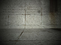 Concrete room. With dark and grungy cement wall Royalty Free Stock Images