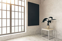 Concrete room with blackboard. Side view of concrete room interior with decorative plant, window and empty blackboard on wall. Mock up, 3D Rendering Stock Photography
