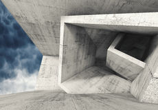 Concrete room with cubic structures 3 d Stock Image