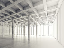 Concrete room, 3d illustration, wire-frame effect Stock Photo
