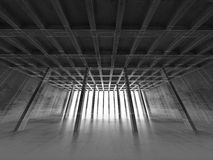 Concrete room, 3d illustration, wire-frame effect Royalty Free Stock Photos