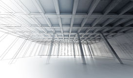 Concrete room, 3 d illustration, wire-frame lines Royalty Free Stock Images