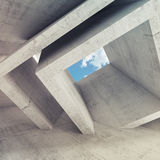 Concrete room interior with blue cloudy sky Stock Photo