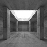 Concrete room interior, opening in ceiling and columns. Abstract architecture background, empty dark concrete room interior with white square opening in ceiling Stock Image